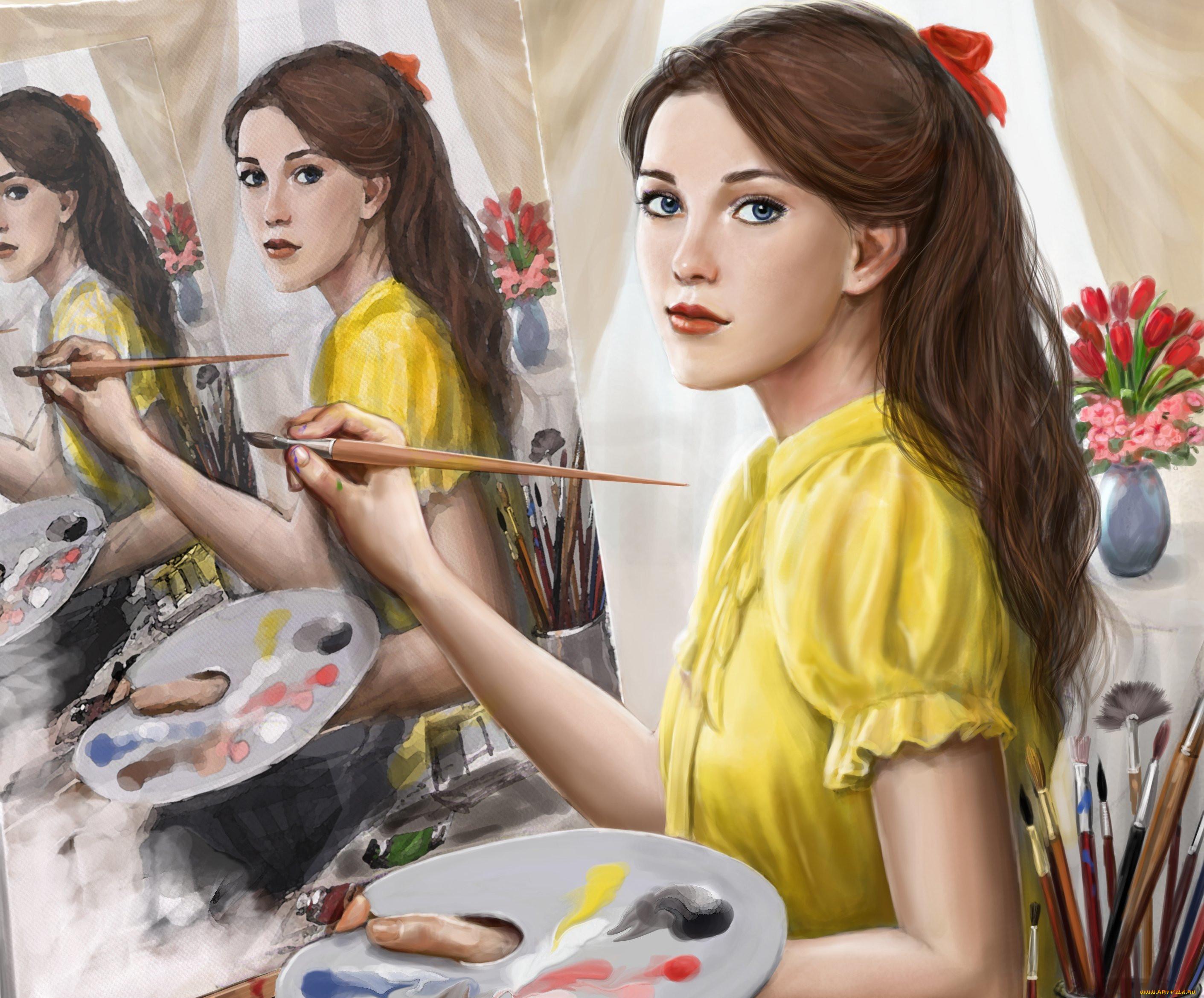 Девушка рисует рисунок